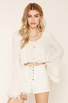 Floral Lace Lace-Up Shorts
