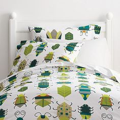 Fun kids sheets & bedding covered in friendly insect. Made from smooth 200-thread cotton percale.