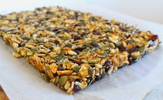 These are not your typical granola bars! They are made entirely from cashew nuts, seeds, dried cranberries and coconut with a simple caramel. Dairy Free, Caramel, Seeds, Bread, Snacks, Baking, Vegetables, Min, Recipes