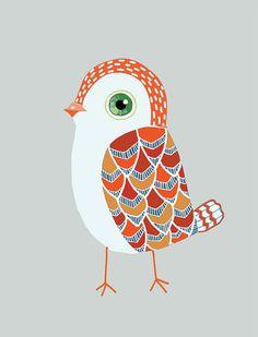 Red Baby Bird art print  archival fine art by courtneyoquist