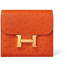 Hermès Small Leather Goods Hermès Wallets For Women ($6,250) ❤ liked on Polyvore featuring bags, wallets, leather wallets, zipper change purse, leather change purse, zipper wallet and orange leather wallet