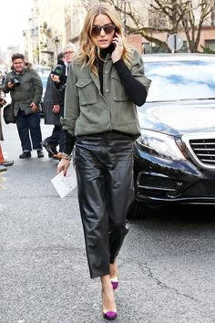 Olivia Palermo - Tuck a utilitarian cargo jacket into leather trousers for tough-luxe vibes.