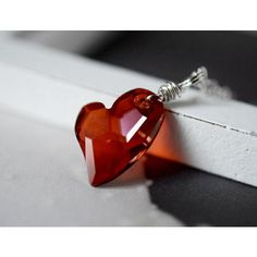 Red Heart Necklace Red Magma Swarovski Crystal Heart Pendant Red... ($38) ❤ liked on Polyvore featuring jewelry, wire wrapped pendant, red heart pendant, red heart jewelry, swarovski crystal heart pendant and red jewelry