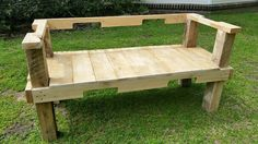"RECYCLED WOOD PALLETS: This is a very simple, solidly designed Garden Bench. It is 57"" long x 25"" deep. The seat is 18"" from the ground and the back is 29"" from top to bottom. We are selling this one-of-a-kind bench ""naked"" for $85 and $100 if we stain it for you. Message us if you are interested in our Garden Bench. Item # 568"