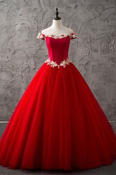 Princess red tulle off shoulder sweetheart long high neck evening dress with white lace flower #prom #dress #promdress #promdresses