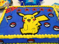 Pikachu Birthday cake made with sugar sheet