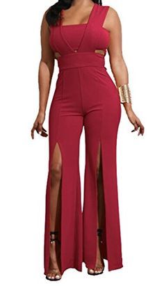 b7f3906c8f LD-women clothes LD Womens Casual Sleeveless Solid Color Wide Leg Pants  Long Romper Jumpsuit Wine Red 4XS