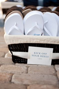 Wedding Flip Flop Basket. So you can dance at the reception in comfort and sanitary, dry conditions.