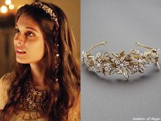In the episode Lady Kenna wears this Melissa Sweet floral and scroll headband with pearl accents. Worn with a Notte by Marchesa gown. Lady Kenna, Reign Tv Show, Reign Mary, Marchesa Gowns, Reign Dresses, Reign Fashion, Melissa Sweet, Headbands, Hair Accessories