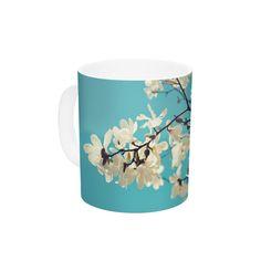 Magnolias by Sylvia Cook 11 oz. Aqua Ceramic Coffee Mug