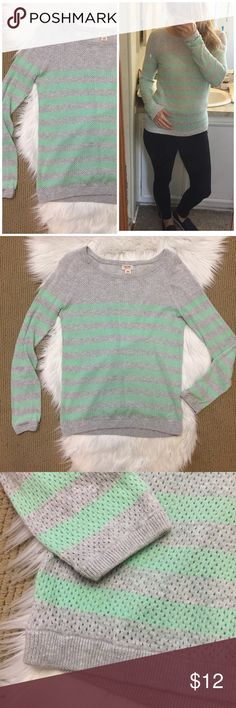 "Mossimo Striped Open Hole Sweater Lightweight perforated long-sleeved sweater. Gray and mint green stripes. Cute with white jean shorts! ▪️Size medium juniors ▪️17"" armpit to armpit and 24"" shoulder to hem length. In good condition! Mossimo Supply Co. Sweaters Crew & Scoop Necks"