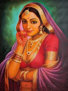 Portrait of a Rajasthani Bride, Oils Oil on CanvasArtist: Anup Gomay Painting Edges, Acrylic Painting Canvas, Woman Painting, Figure Painting, Sexy Painting, Indiana, Rajasthani Bride, Rajasthani Painting, Queen Drawing
