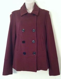 NWT BANANA REPUBLIC Womens Brown Double Breasted Peacoat Jacket Size M #BananaRepublic #Trench