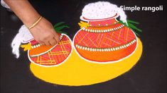 Easy Rangoli Designs Videos, Rangoli Designs Simple Diwali, Rangoli Side Designs, Simple Rangoli Border Designs, Rangoli Designs Latest, Free Hand Rangoli Design, Rangoli Patterns, Small Rangoli Design, Rangoli Ideas