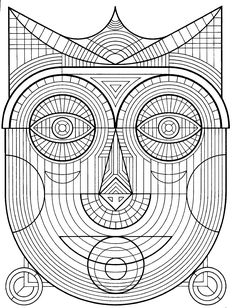 Free coloring page coloring-adult-mask. Drawing of a traditional mask with many details to print and color