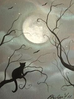 (A Cats Tale) Yr 2011 acrylic on watercolor~ by Philippe Fernandez Black Cat Art, Moon Art, Animal Art, Illustration, Drawings, Painting, Art, Cat Drawing, Halloween Art