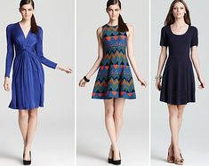 The Huffington Post Fall Dressing for Your Body Type SUCCULENT PEARS | 07/26/2012 | http://www.huffingtonpost.com/karen-klopp/fashion-week-body-types-_b_1702131.html | Issa London Tucked Waist Dress, Issa London Knit Printed Dress, Shoshanna Sweater Dress