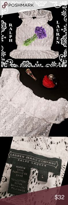 """RALPH LAUREN White Lace Peasant Top , Sz Lge Unlined white lace elasticized waist peasant top from Ralph Lauren, size large.  So sexy and incredibly feminine.  It is in excellent condition.  Measurements: Shoulders - 14"""", Bust - 19"""", Length - 23"""". Ralph Lauren Tops"""