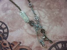 Industrial Chic Charm Necklace:Tim Holtz Faucet+Gears, Metal Numbers Tag,Gears,Garden Spade & Watering Can,Light Bulb Hanging Lantern,Beads,