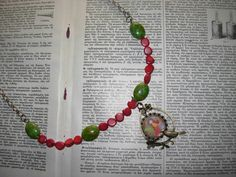Items similar to Gone with the Wind -Whimsical unique handmade beaded necklace with my art print on Etsy Jewelry Illustration, Gone With The Wind, Inspiring Art, Mixed Media Art, Special Gifts, Whimsical, Beaded Necklace, My Arts, Art Prints