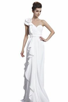 kingmalls Womens Elegant White One Shoulder Long Prom Dresses