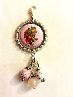 Strawberries Bottle Cap Charm by BUTTONSBADGESANDMORE on Etsy