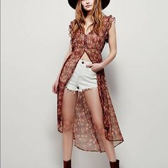 Free People Lady of Avalon maxi top Super cute top dress duster it is so versatile it's a must have Free People Dresses High Low