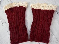 Cable Knit Lace Topped Boot Cuff (Choose a Color)