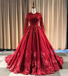 2019 Burgundy Tulle O Neck Long Lace Applique Formal Evening.- 2019 Burgundy Tulle O Neck Long Lace Applique Formal Evening Dress, Bridal Gown With Sleeve 2019 Burgundy Tulle O Neck Long Lace Applique Formal Evening Dress, Bridal Gown With Sleeve - Indian Wedding Gowns, Indian Gowns Dresses, Evening Dresses With Sleeves, Red Gowns, Red Wedding Dresses, Formal Evening Dresses, Evening Gowns, Prom Dresses, Formal Gowns With Sleeves
