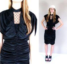 vtg 80s black PLUNGING ruched COCKTAIL DRESS by TigerlilyFrocks, $59.00