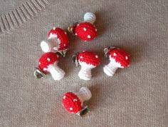 Crochet Mushroom Brooch - Tiny Red Toadstool Amigurumi Pin - Mushroom jewelry