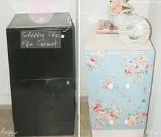 DIY: Shabby Chic File Cabinet Re-do. Get your own shabby chic file cabinet for your craft room! Paint file cabinet with white primer, let dry, paint body with pink paint, cut floral fabric, use mod podge, lay it on the drawer, seal fabric with two coats of mod podge, and put knobs in.