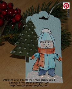 Christmas gift tag created using the Christmas Cuties Stamp Set, Perfect Pines Framelits Dies and Softly Falling Embossing Folder from Stampin' Up!  http://tracyelsom.stampinup.net