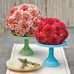 Dahlia Domes - trim the bottom off a floral foam sphere so that it can sit on a cake stand, and soak in water for at least 30 minutes. Clip dahlia stems short; insert into the foam until covered.