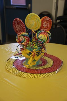 Camping Theme Wedding Centerpieces Wizard Of Oz Trendy Ideas Wizard Of Oz Play, Wizard Of Oz Decor, Lollipop Centerpiece, Party Centerpieces, Music Party Decorations, Music Theme Birthday, Camping Theme, Over The Rainbow, The Wiz
