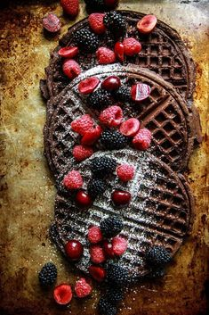 Chocolate Waffles- Gluten Free, Vegan, and delicious, whether for breakfast, brunch, dessert, or waffle bar party! | Heather Christo paleo breakfast bars
