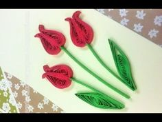 Quilling Made Easy # How to make Red Green Flower Design using Paper Art...