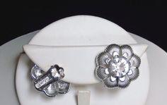Vintage Large Center Rhinestone Rhodium Grooved Detailed Flower Petals Earrings #CoroinScript #CoroRhinestoneFlowerEarrings