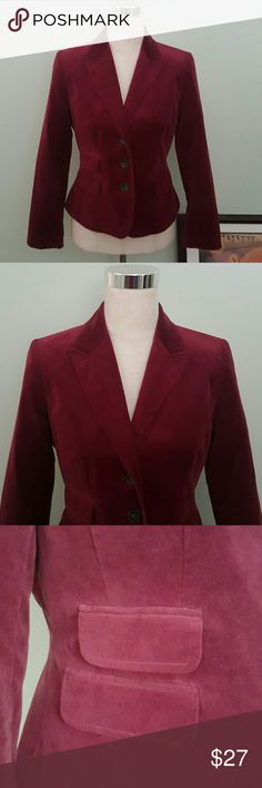 Burgundy Blazer Blazer with faux flap pockets. Velvet look. Pit to pit 17 inches. 22 inches long. Ann Taylor LOFT Jackets & Coats Blazers