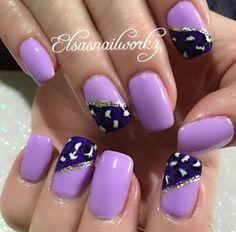 Lavender & purple leopard nails