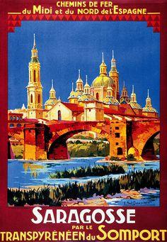 Vintage Railway Travel Poster  - Saragossa - Somport - Spain.