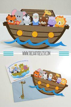 Noah's Ark Invitation - Noah's Ark Invitations - Birthday - Baby Shower - Custom Order Available - 10/pack