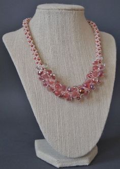 Coral Gables Beaded Kumihimo Necklace, Coral Pink Gilt-Marbled Red Necklace, Coral Shade Necklace on Etsy, $145.00