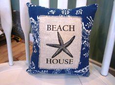 Beach pillow shabby chic farmhouse decor by 112FarmhouseLayne, $16.00