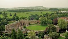 Bishop's Palace From Above; Tower of Wells Cathedral