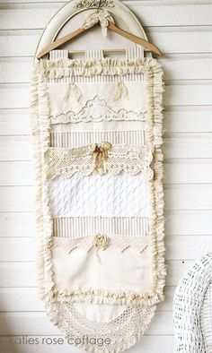 vintage lace pocket wall hanging