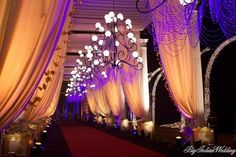 entrance decor, gold and purple decor, chandelier entrance Marriage Decoration, Wedding Stage Decorations, Wedding Themes, Wedding Events, Wedding Ideas, Wedding Walkway, Wedding Entrance, Reception Entrance, Wedding Mandap
