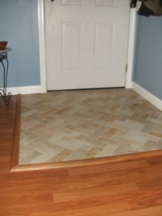 EntrywayFoyer With Wood Floor And Tile Inlay Cheap Alternative - Tile hardwood floor