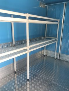 Artinox shelving installed in a delivery van. Van Shelving, Metal Fabrication, Delivery, Food, Eten, Meals, Diet