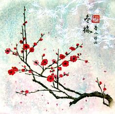 Chinese Cherry Blossoms, with blue background, like St.John's Flower Agate (above).